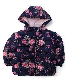 Fox Baby Full Sleeves Hooded Jacket Floral Print - Blue