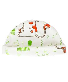 Bachha Essential Cow Print Cap - White & Orange
