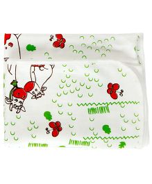 Bachha Essential Cow Print Blanket - White & Red