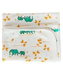 Bachha Essential Elephant Print Blanket  - Green & White