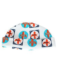 Bachha Essential Aeroplane Print Cap - Red & Blue