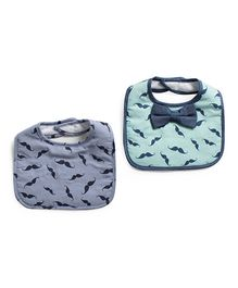 Frenchie Moustache Bow Tie Bib Pack Of 2 - Green & Blue