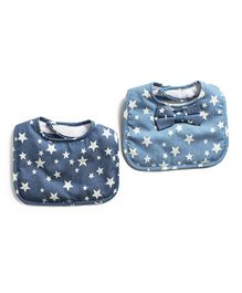 Frenchie Star Bow Tie Bib Pack Of 2 - Blue