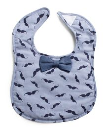 Frenchie Moustache Bow Tie Bib - Blue