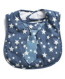 Frenchie Star Neck Tie Bib - Blue