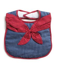 Frenchie Chambray Bib With Dot Neck Tie - Blue & Red