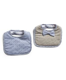 Frenchie Interlock Bib With Stripes Bow Tie Pack Of 2 - Grey & Blue