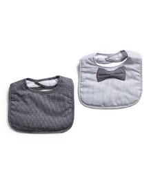 Frenchie Spots Bib With Stripe Bow Tie Pack Of 2 - Light Grey & White