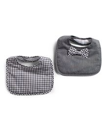Frenchie Stripe Bib With Gingham Bow Tie Pack Of 2 - Dark Grey