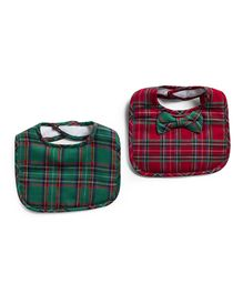 Frenchie Christmas Plaid Bib With Christmas Plaid Bowtie Pack Of 2 - Red & Green