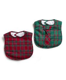 Frenchie Christmas Plaid Bib With Christmas Plaid Tie Pack Of 2 - Red & Green