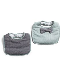 Frenchie Stripe Bib With Chambray Bow Tie Pack Of 2 - Green & Grey
