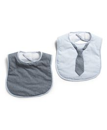 Frenchie Stripe Bib With Chambray Tie Pack Of 2 - Light Blue & Dark Grey