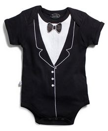 Frenchie Tuxedo Short Sleeve Onesie - Black