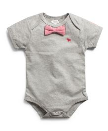 Frenchie Onesie With Chambray Bow Tie - Grey