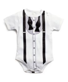 Frenchie Tuxedo Un-Tied Bow Tie Onesie - Black & White
