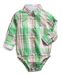 Frenchie Plaid Long Sleeve Shirt Style Onesie - Green