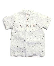 Frenchie Mandarin Collar Shirt With Dots - White & Blue