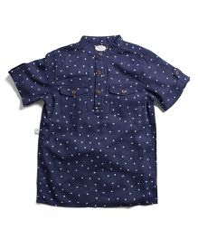 Frenchie Mandarin Collar Shirt With Dots - Blue & White