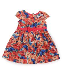 Beebay Cap Sleeves Frock Floral Print - Multi Color