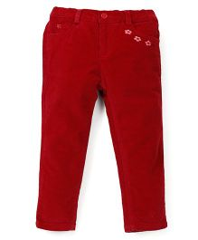 Beebay Full Length Corduroy Trousers Flower Embroidery - Maroon