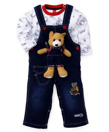 Wow Dungaree Style Romper With T-Shirt - Blue & White