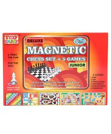 Toyenjoy Deluxe Magnetic Chess Set & 5 Games 6 In 1 Board Games - Multicolor