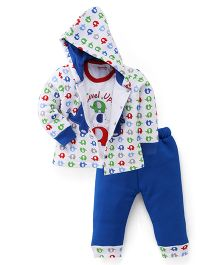 Wonderchild Full Sleeves 3 piece Elephant Hoody Set - Blue & White