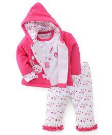 Wonderchild Full Sleeves Bunny Hoody Set - Pink & White