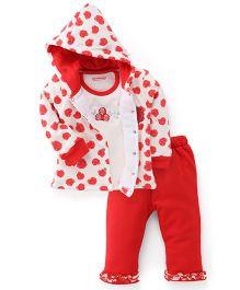 Wonderchild Full Sleeves Hoody Set Rose Print - Red & White