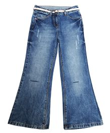 Bees And Butterflies Stonewash Boot Cut Trouser - Blue