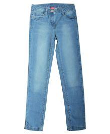Bees And Butterflies Wash Regular Fit Denim Trouser - Light Blue
