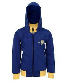 Haig-Dot Full Sleeves Hooded Jacket - Dark Blue