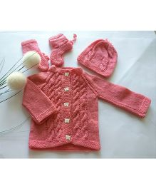 The Original Knit Butterfly Button Sweater Set With Cap & Socks - Pink