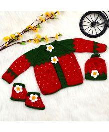 The Original Knit Strawberry Sweater Set With Cap & Socks - Red & Green