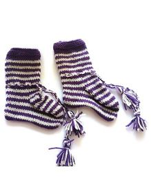 The Original Knit Striped Knitted Socks - Purple & White
