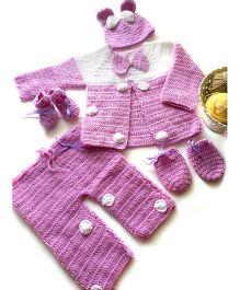 The Original Knit Bow Applique Sweater Pyjama Set With Cap Socks & Mittens - Mauve & White