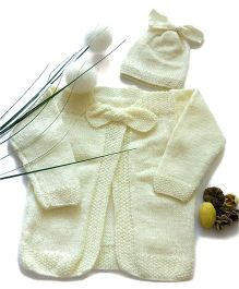The Original Knit Bow Applique Knitted Sweater & Cap - Off White