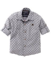 Jash Kids Full Sleeves Star Printed Shirt - Grey