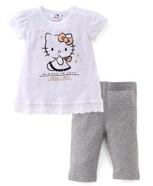 Fox Baby Half Sleeves Top With Kitty Print & Dotted Leggings Set - White & Grey