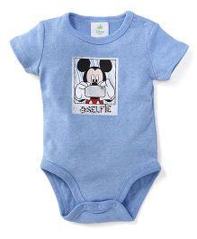 Disney Baby Half Sleeves Onesie Selfie Print - Blue