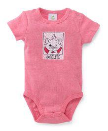 Disney Baby Half Sleeves Onesie Selfie Print - Pink