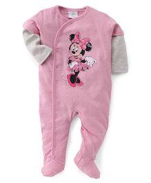 Disney Baby Full Sleeves Footed Romper Minnie Print - Pink