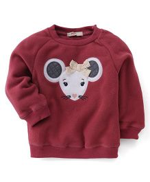 Fox Baby Full Sleeves Winter Wear Top Mouse Print - Maroon