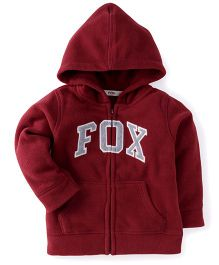 Fox Baby Full Sleeves Hooded Jacket - Maroon