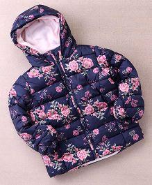 Fox Baby Full Sleeves Floral Printed Jacket - Navy