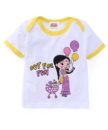 Chhota Bheem Half Sleeves Tee White and yellow 6-12M
