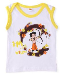 Chhota Bheem Sleeveless T-Shirt - White & Yellow