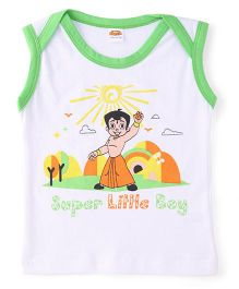 Chhota Bheem Sleeveless T-Shirt - White & Green