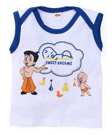 Chhota Bheem Sleeveless Printed T-Shirt - White And Blue